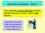bank reconciliation step 1