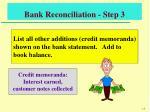 bank reconciliation step 3