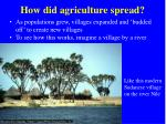 how did agriculture spread