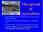 the spread of agriculture