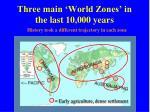 three main world zones in the last 10 000 years