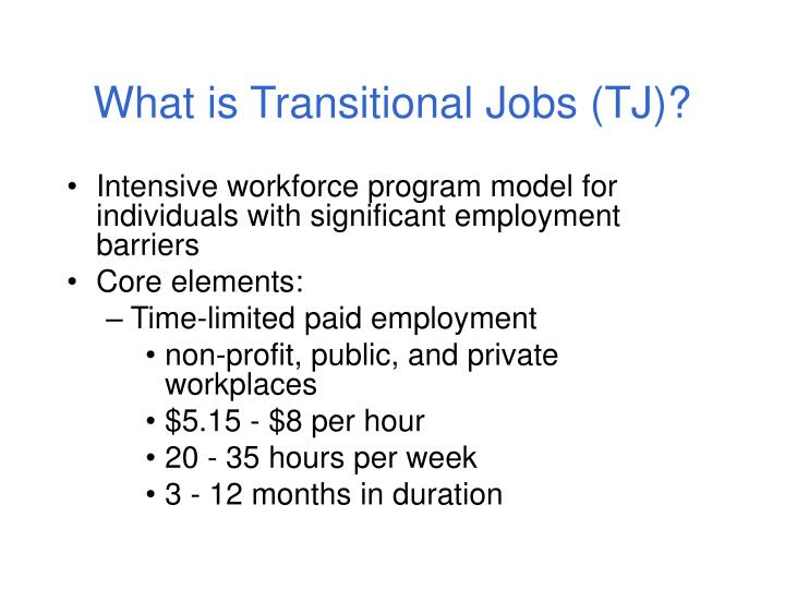 What is transitional jobs tj