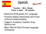 spanish teacher mrs brown twice a week 25 minutes