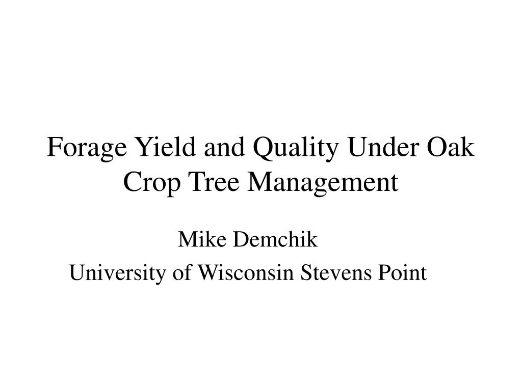forage yield and quality under oak crop tree management l.