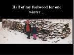 half of my fuelwood for one winter