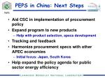 peps in china next steps