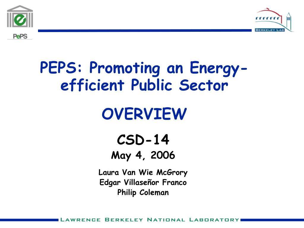 peps promoting an energy efficient public sector overview l.