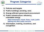 program categories