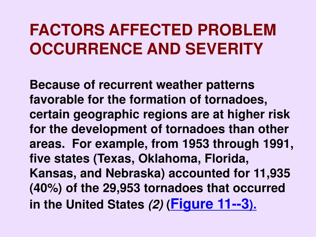 FACTORS AFFECTED PROBLEM OCCURRENCE AND SEVERITY