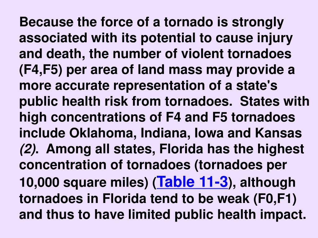 Because the force of a tornado is strongly associated with its potential to cause injury and death, the number of violent tornadoes (F4,F5) per area of land mass may provide a more accurate representation of a state's public health risk from tornadoes.  States with high concentrations of F4 and F5 tornadoes include Oklahoma, Indiana, Iowa and Kansas