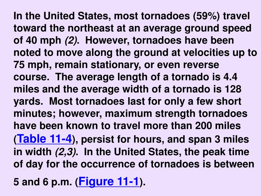 In the United States, most tornadoes (59%) travel toward the northeast at an average ground speed of 40 mph