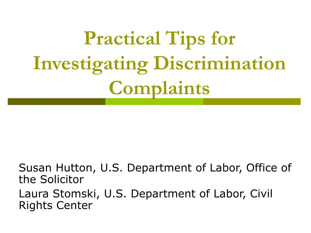 practical tips for investigating discrimination complaints l.