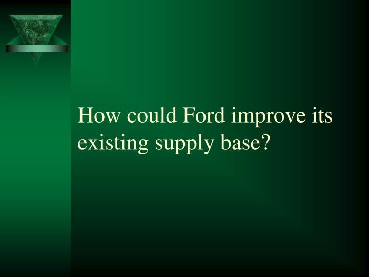 ford motor company supply chain strategy case study solution Case 2-3: ford motor company: aligned business framework tony brown, senior vice-president of global sourcing at ford motor company (ford), was preparing to launch the company's new supply chain strategy - aligned business framework (abf.