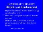 home health hospice eligibility and reimbursement
