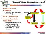 correct code generation how