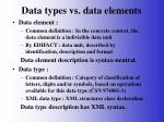 data types vs data elements
