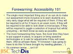 forewarning accessibility 101
