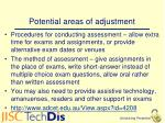 potential areas of adjustment