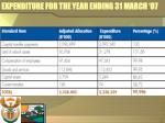 expenditure for the year ending 31 march 07