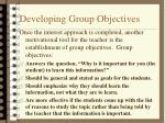 developing group objectives