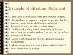 example of situation statement