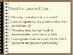 need for lesson plans