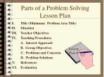 parts of a problem solving lesson plan