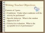 writing teacher objectives