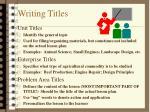 writing titles
