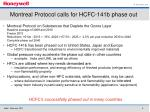 montreal protocol calls for hcfc 141b phase out