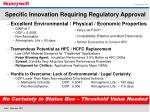 specific innovation requiring regulatory approval