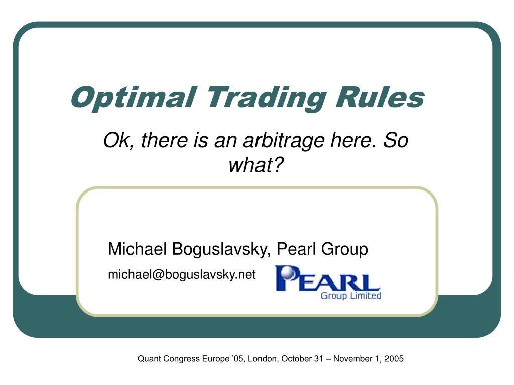 optimal trading rules l.