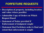 forfeiture requests