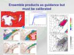 ensemble products as guidance but must be calibrated
