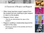 a classroom of respect and rapport