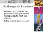 no management experience