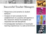 successful teacher managers