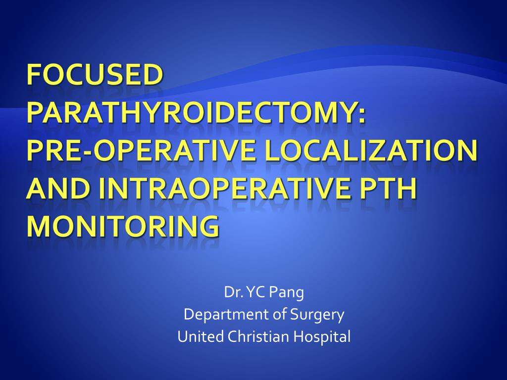 dr yc pang department of surgery united christian hospital l.