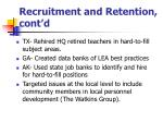 recruitment and retention cont d