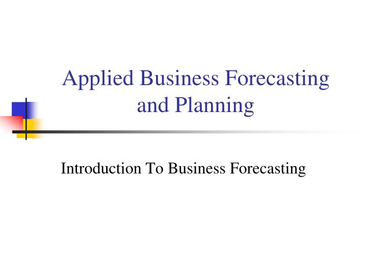 applied business forecasting and planning n.