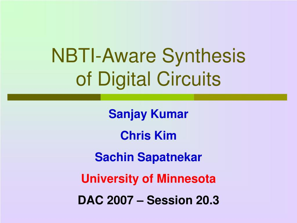 nbti aware synthesis of digital circuits l.
