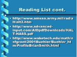 reading list cont