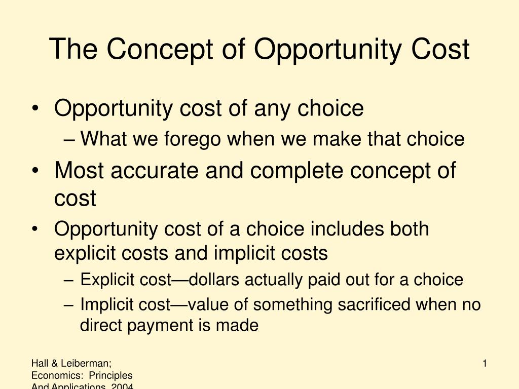 the concept of opportunity cost l.
