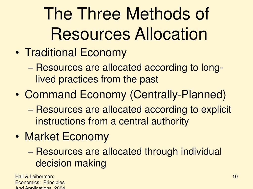 the three methods of resource allocation How are scarce resources allocated among people section 3 cd- 1318 mark twain media publishing company study play  is another method of who gets what this is .