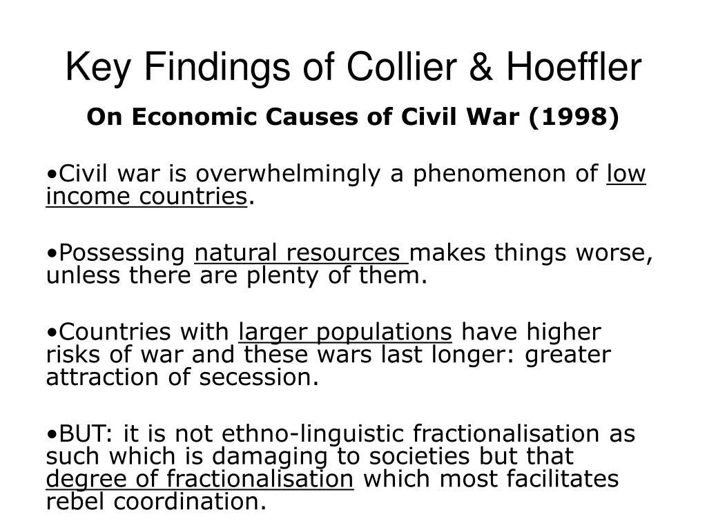 key findings of collier hoeffler l.