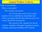 animal welfare criteria