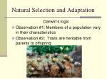 natural selection and adaptation8