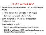 sha 1 verses md5