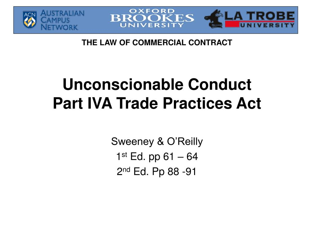 unconscionable conduct part iva trade practices act l.