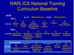 nims ics national training curriculum baseline